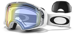 Oakley AIRBRAKE Goggles polished white Lens hi yellow iridium & dark grey